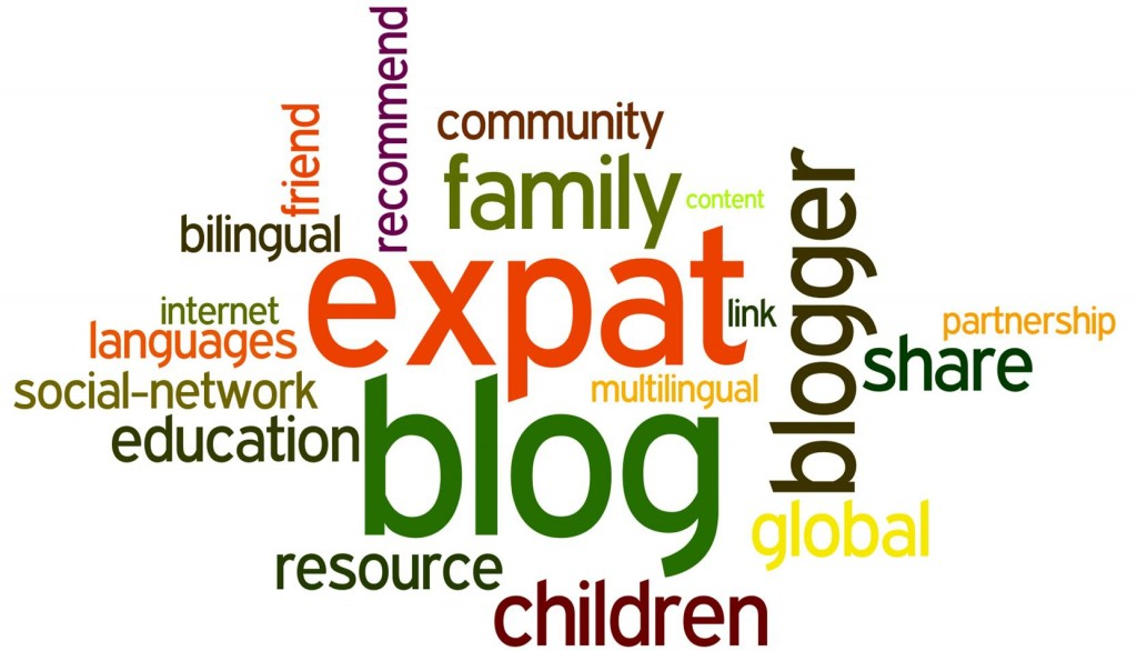 Words in a word cloud about expat bloggers and links