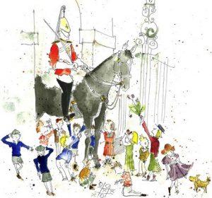Illustration of school kids around a guard on horseback in London