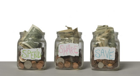 three jars of money labelled spend share and save