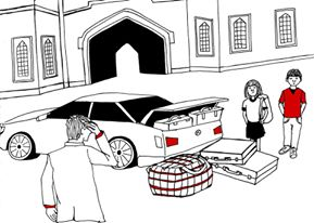 Cartoon Boarding school trying to fit everything into a car