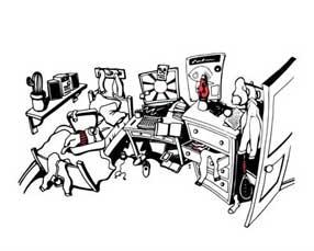 Cartoon of a dorm at boarding school