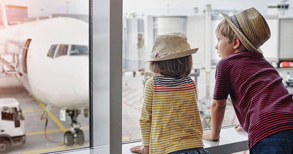 Kids at an airport